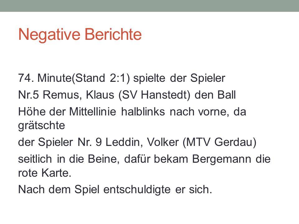 Negative Berichte 74.