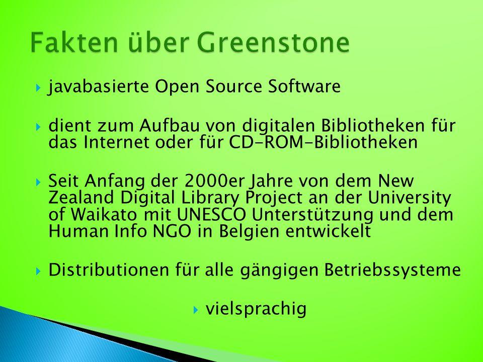  javabasierte Open Source Software  dient zum Aufbau von digitalen Bibliotheken für das Internet oder für CD-ROM-Bibliotheken  Seit Anfang der 2000er Jahre von dem New Zealand Digital Library Project an der University of Waikato mit UNESCO Unterstützung und dem Human Info NGO in Belgien entwickelt  Distributionen für alle gängigen Betriebssysteme  vielsprachig