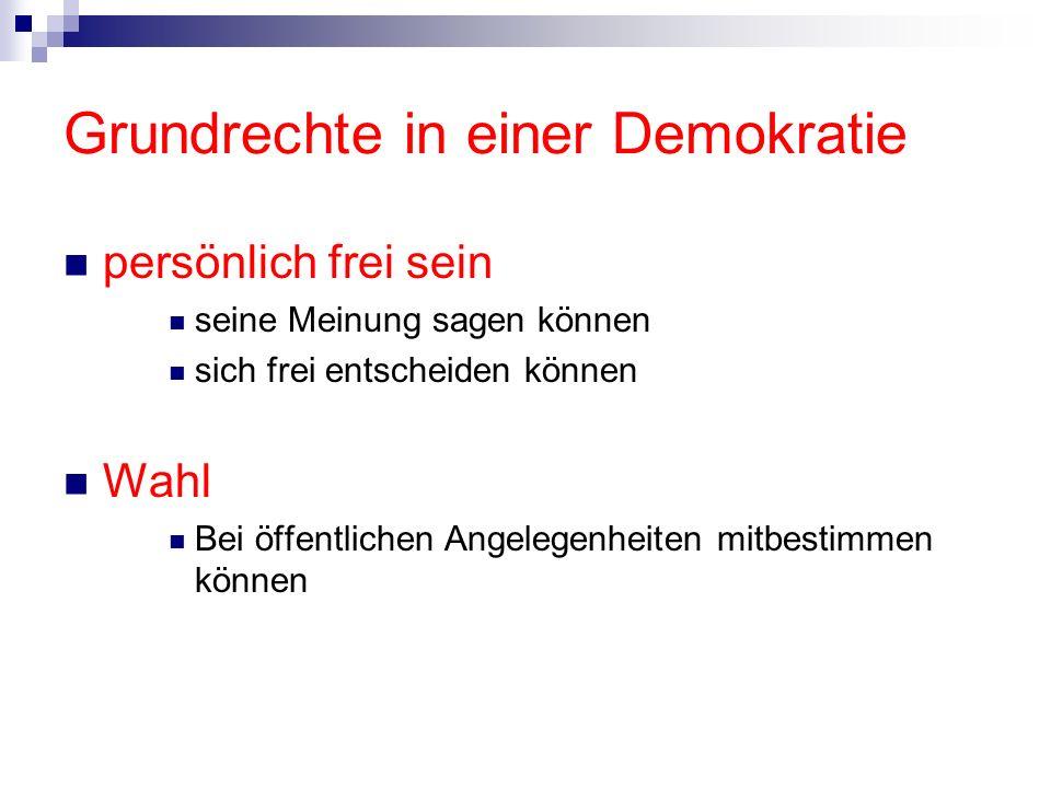 Grundrechte in einer Demokratie persönlich frei sein seine Meinung sagen können sich frei entscheiden können Wahl Bei öffentlichen Angelegenheiten mit