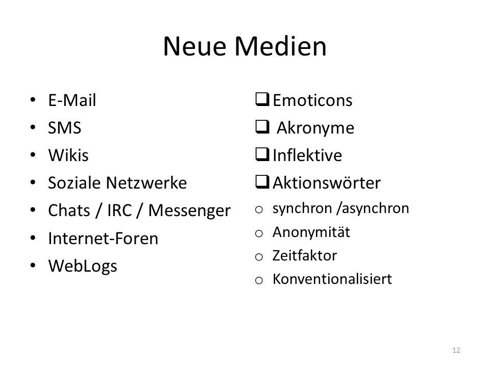 Neue Medien E-Mail SMS Wikis Soziale Netzwerke Chats / IRC / Messenger Internet-Foren WebLogs  Emoticons  Akronyme  Inflektive  Aktionswörter o sy