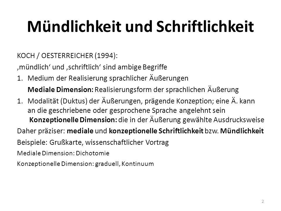 Mündlichkeit und Schriftlichkeit KOCH / OESTERREICHER (1994): 'mündlich' und 'schriftlich' sind ambige Begriffe 1.Medium der Realisierung sprachlicher