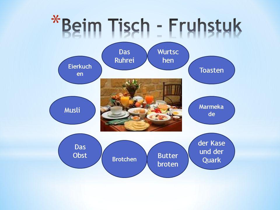Musli Eierkuch en Das Ruhrei der Kase und der Quark Butter broten Brotchen Das Obst Wurtsc hen Toasten Marmeka de