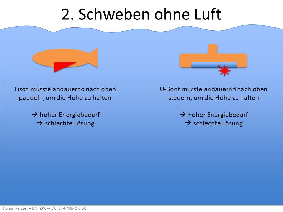 2. Schweben ohne Luft Florian Karsten – BNT ZPG – (CC) BY-NC-SA 3.0 DE Fisch müsste andauernd nach oben paddeln, um die Höhe zu halten  hoher Energie