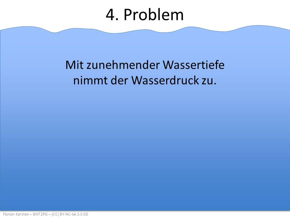 4.Problem Mit zunehmender Wassertiefe nimmt der Wasserdruck zu.