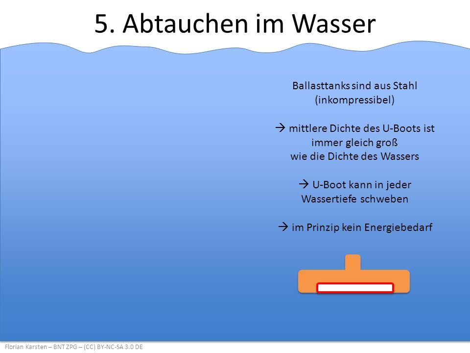 5. Abtauchen im Wasser Florian Karsten – BNT ZPG – (CC) BY-NC-SA 3.0 DE Ballasttanks sind aus Stahl (inkompressibel)  mittlere Dichte des U-Boots ist