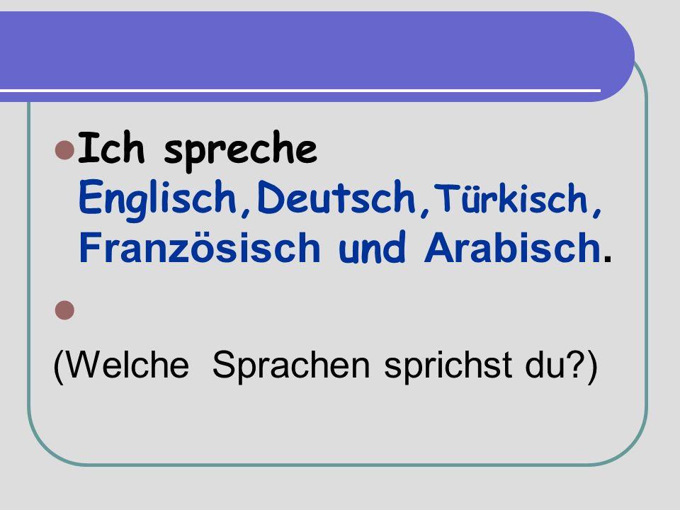 Ich spreche Englisch,Deutsch, Türkisch, Französisch und Arabisch. (Welche Sprachen sprichst du )