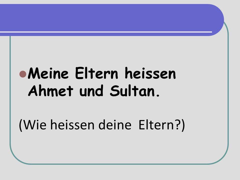 Meine Eltern heissen Ahmet und Sultan. (Wie heissen deine Eltern )