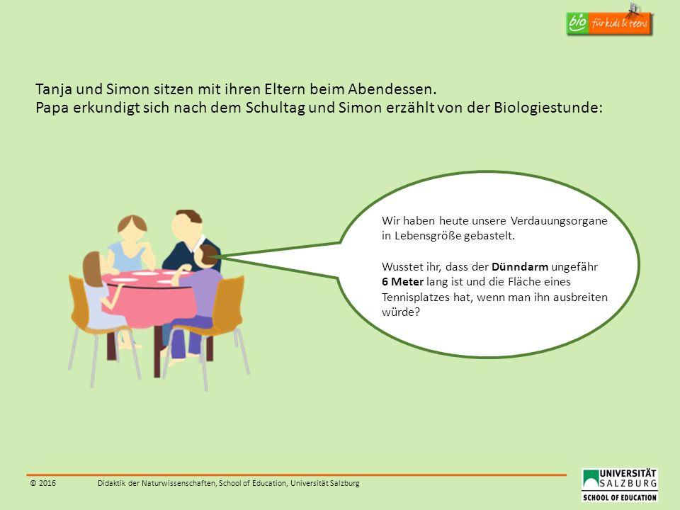 © 2016Didaktik der Naturwissenschaften, School of Education, Universität Salzburg Tanja und Simon sitzen mit ihren Eltern beim Abendessen. Papa erkund