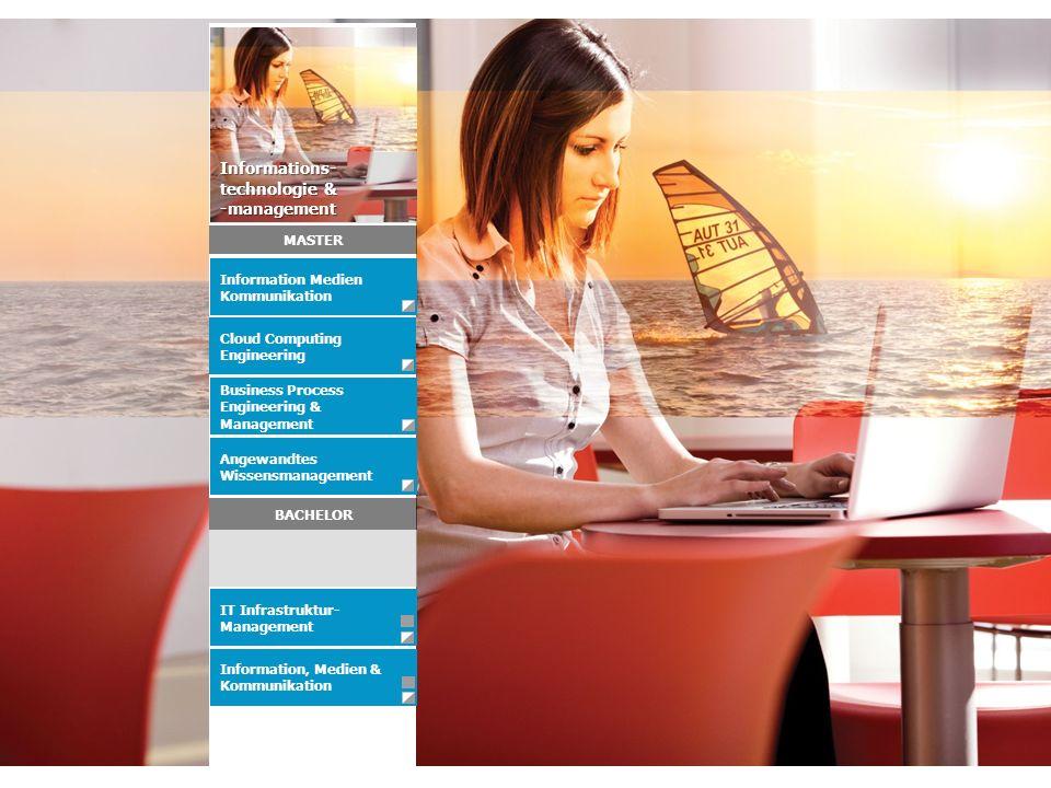 Information, Medien & Kommunikation Angewandtes Wissensmanagement Business Process Engineering & Management IT Infrastruktur- Management Information Medien Kommunikation Informations- technologie & -management BACHELOR MASTER Cloud Computing Engineering