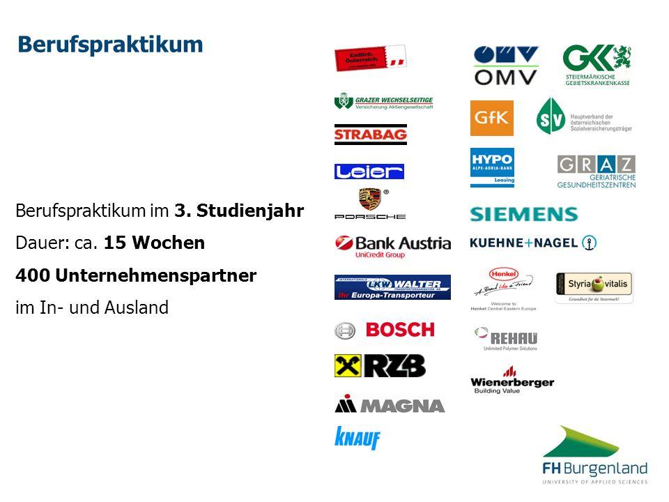 Berufspraktikum Berufspraktikum im 3. Studienjahr Dauer: ca. 15 Wochen 400 Unternehmenspartner im In- und Ausland