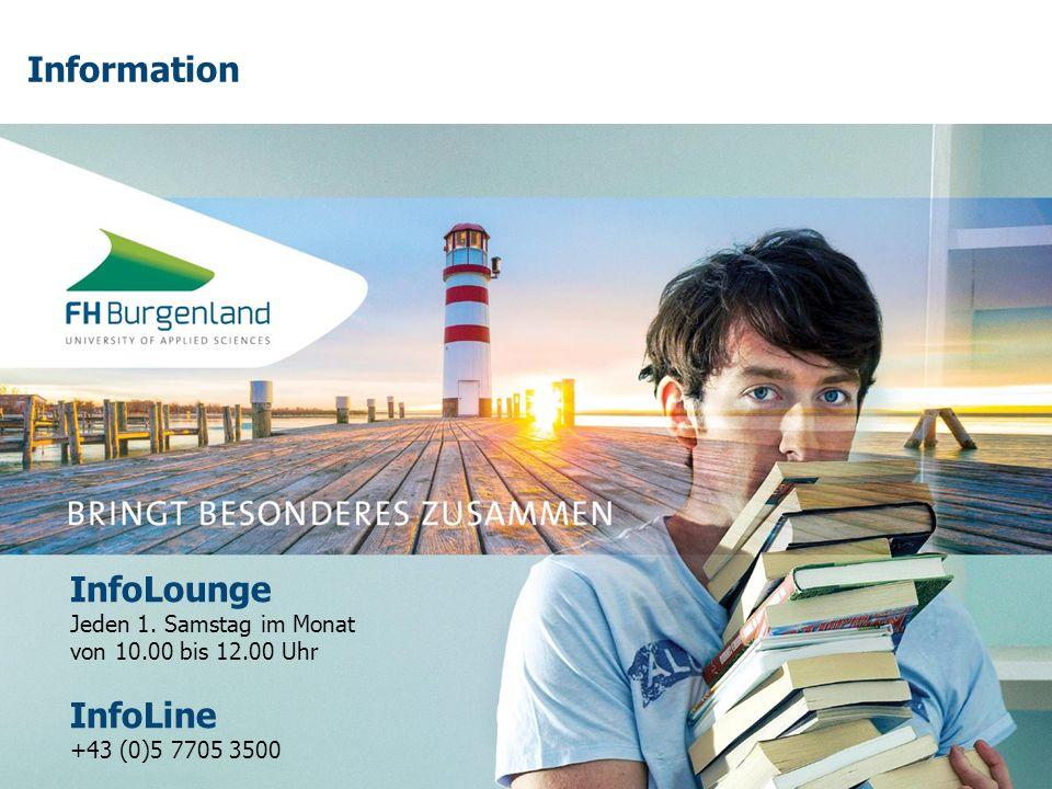 Information InfoLounge Jeden 1. Samstag im Monat von 10.00 bis 12.00 Uhr InfoLine +43 (0)5 7705 3500