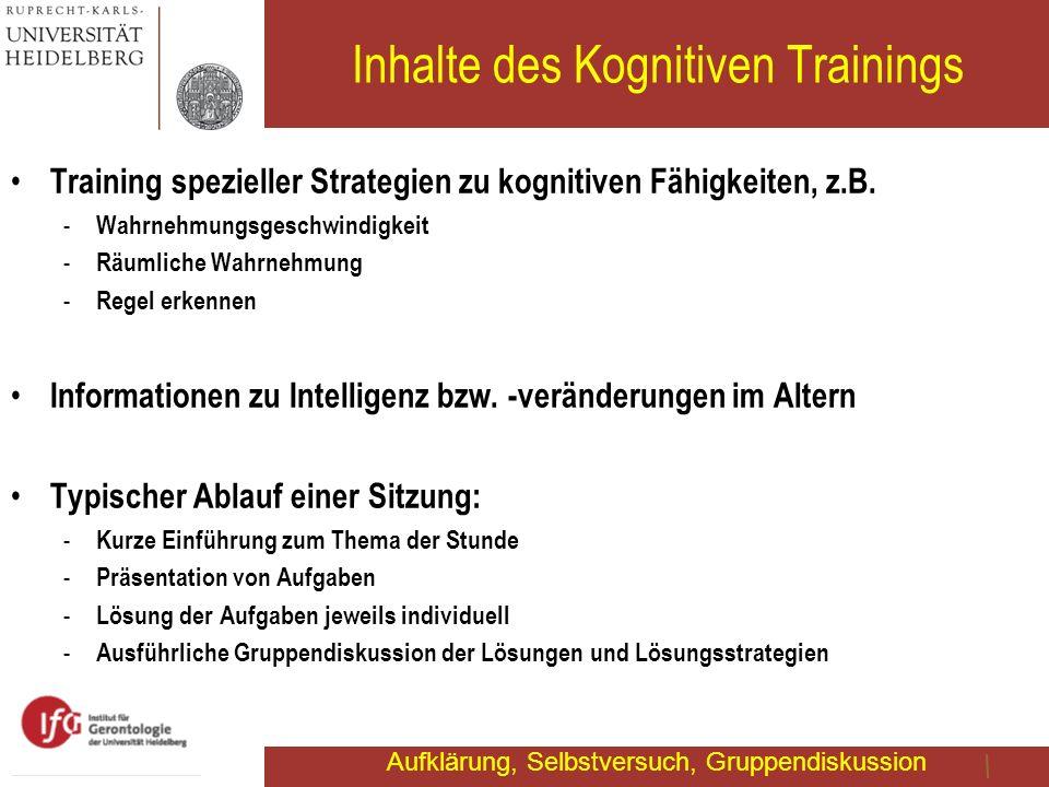 Inhalte des Kognitiven Trainings Training spezieller Strategien zu kognitiven Fähigkeiten, z.B. - Wahrnehmungsgeschwindigkeit - Räumliche Wahrnehmung