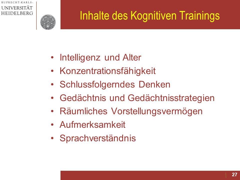 Inhalte des Kognitiven Trainings Intelligenz und Alter Konzentrationsfähigkeit Schlussfolgerndes Denken Gedächtnis und Gedächtnisstrategien Räumliches