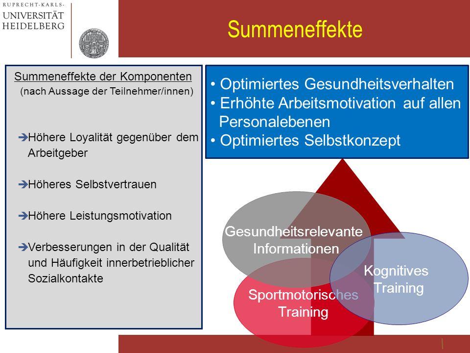31 Summeneffekte Summeneffekte der Komponenten (nach Aussage der Teilnehmer/innen)  Höhere Loyalität gegenüber dem Arbeitgeber  Höheres Selbstvertra