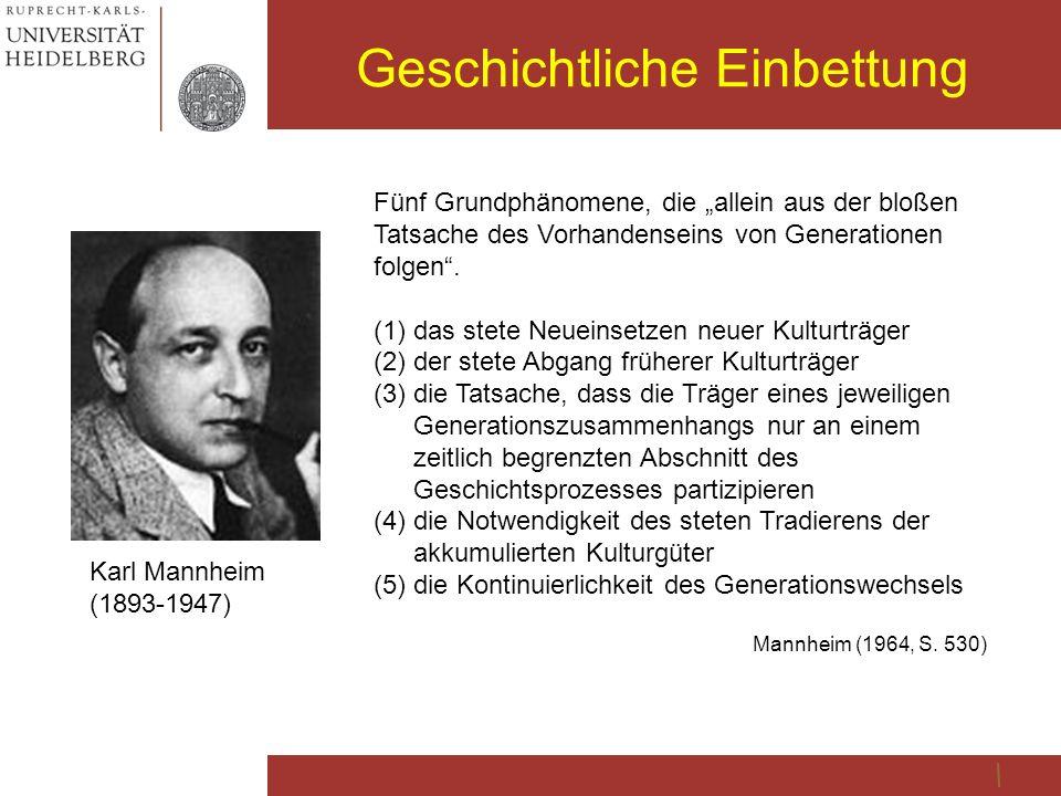"""Geschichtliche Einbettung Karl Mannheim (1893-1947) Fünf Grundphänomene, die """"allein aus der bloßen Tatsache des Vorhandenseins von Generationen folge"""