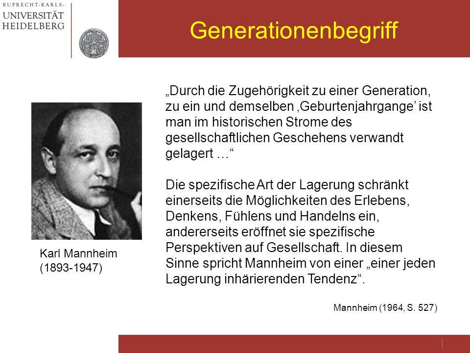 """Generationenbegriff Karl Mannheim (1893-1947) """" Durch die Zugehörigkeit zu einer Generation, zu ein und demselben 'Geburtenjahrgange' ist man im histo"""