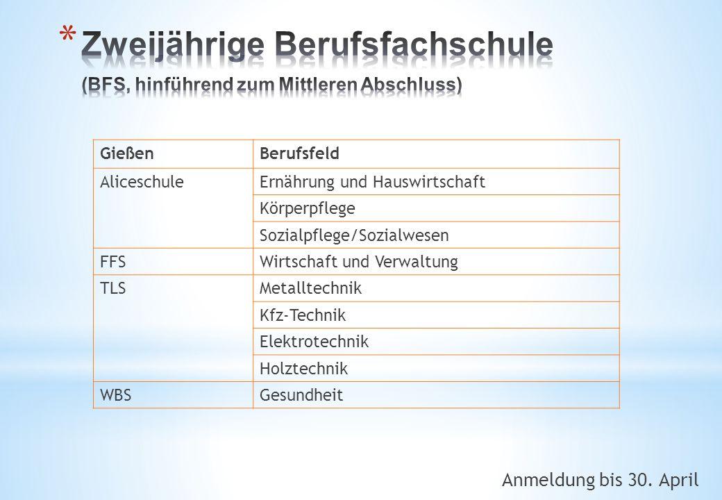 Anmeldung bis 30. April GießenBerufsfeld AliceschuleErnährung und Hauswirtschaft Körperpflege Sozialpflege/Sozialwesen FFSWirtschaft und Verwaltung TL