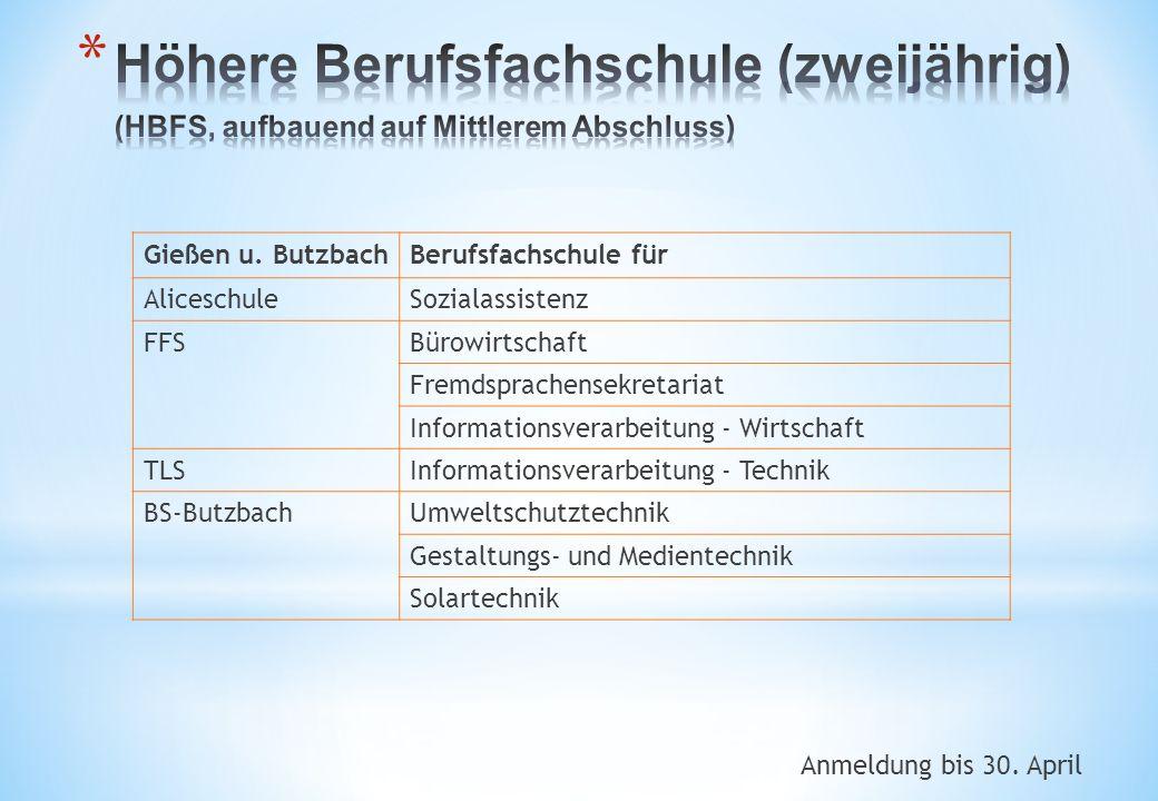 Anmeldung bis 30. April Gießen u. ButzbachBerufsfachschule für AliceschuleSozialassistenz FFSBürowirtschaft Fremdsprachensekretariat Informationsverar