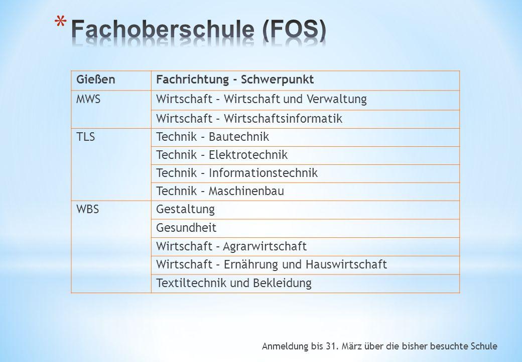 Anmeldung bis 31. März über die bisher besuchte Schule GießenFachrichtung - Schwerpunkt MWSWirtschaft – Wirtschaft und Verwaltung Wirtschaft – Wirtsch