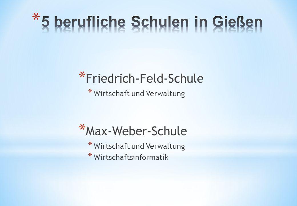 * Friedrich-Feld-Schule * Wirtschaft und Verwaltung * Max-Weber-Schule * Wirtschaft und Verwaltung * Wirtschaftsinformatik