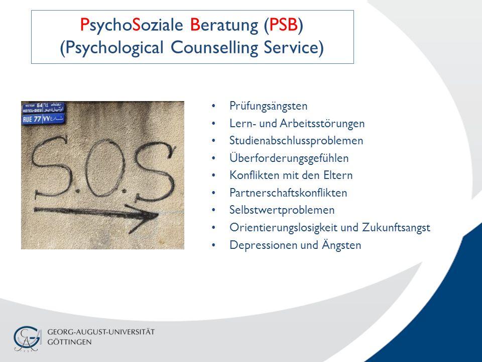 Prüfungsängsten Lern- und Arbeitsstörungen Studienabschlussproblemen Überforderungsgefühlen Konflikten mit den Eltern Partnerschaftskonflikten Selbstwertproblemen Orientierungslosigkeit und Zukunftsangst Depressionen und Ängsten PsychoSoziale Beratung (PSB) (Psychological Counselling Service)