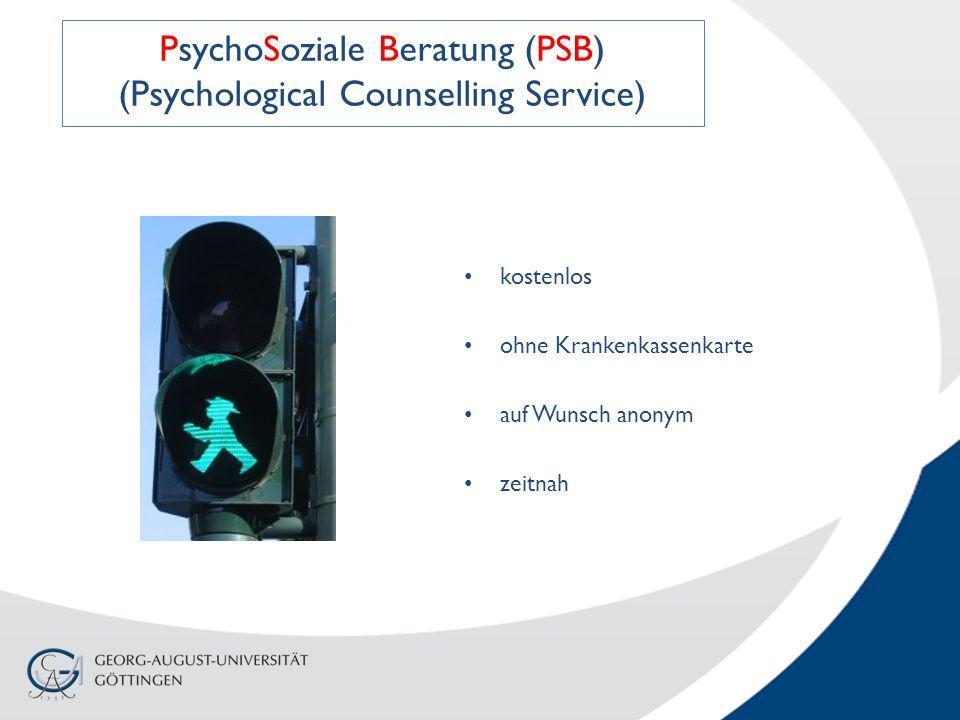 kostenlos ohne Krankenkassenkarte auf Wunsch anonym zeitnah PsychoSoziale Beratung (PSB) (Psychological Counselling Service)