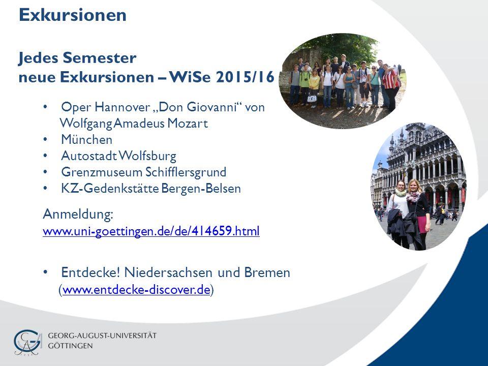 """Exkursionen Jedes Semester neue Exkursionen – WiSe 2015/16 Oper Hannover """"Don Giovanni"""" von Wolfgang Amadeus Mozart München Autostadt Wolfsburg Grenzm"""