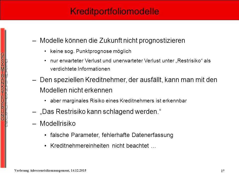 27 Vorlesung Adressenrisikomanagement, 14.12.2015 Kreditportfoliomodelle –Modelle können die Zukunft nicht prognostizieren keine sog. Punktprognose mö