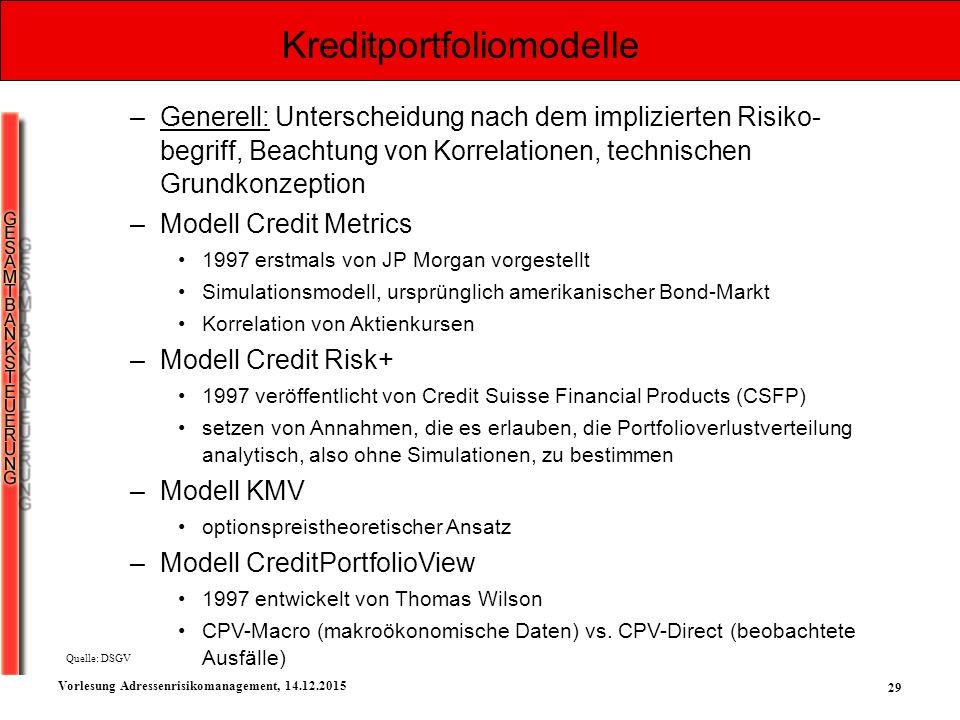 29 Vorlesung Adressenrisikomanagement, 14.12.2015 Kreditportfoliomodelle –Generell: Unterscheidung nach dem implizierten Risiko- begriff, Beachtung vo