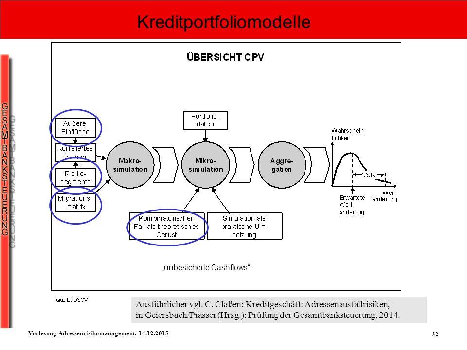 """32 Vorlesung Adressenrisikomanagement, 14.12.2015 Kreditportfoliomodelle """"unbesicherte Cashflows"""" Ausführlicher vgl. C. Claßen: Kreditgeschäft: Adress"""