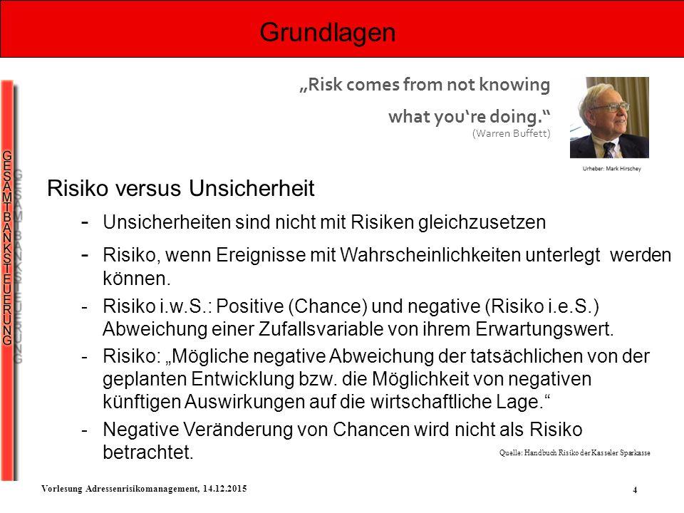 4 Vorlesung Adressenrisikomanagement, 14.12.2015 Grundlagen Risiko versus Unsicherheit - Unsicherheiten sind nicht mit Risiken gleichzusetzen - Risiko