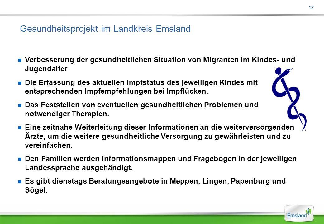 12 Gesundheitsprojekt im Landkreis Emsland Verbesserung der gesundheitlichen Situation von Migranten im Kindes- und Jugendalter Die Erfassung des aktuellen Impfstatus des jeweiligen Kindes mit entsprechenden Impfempfehlungen bei Impflücken.
