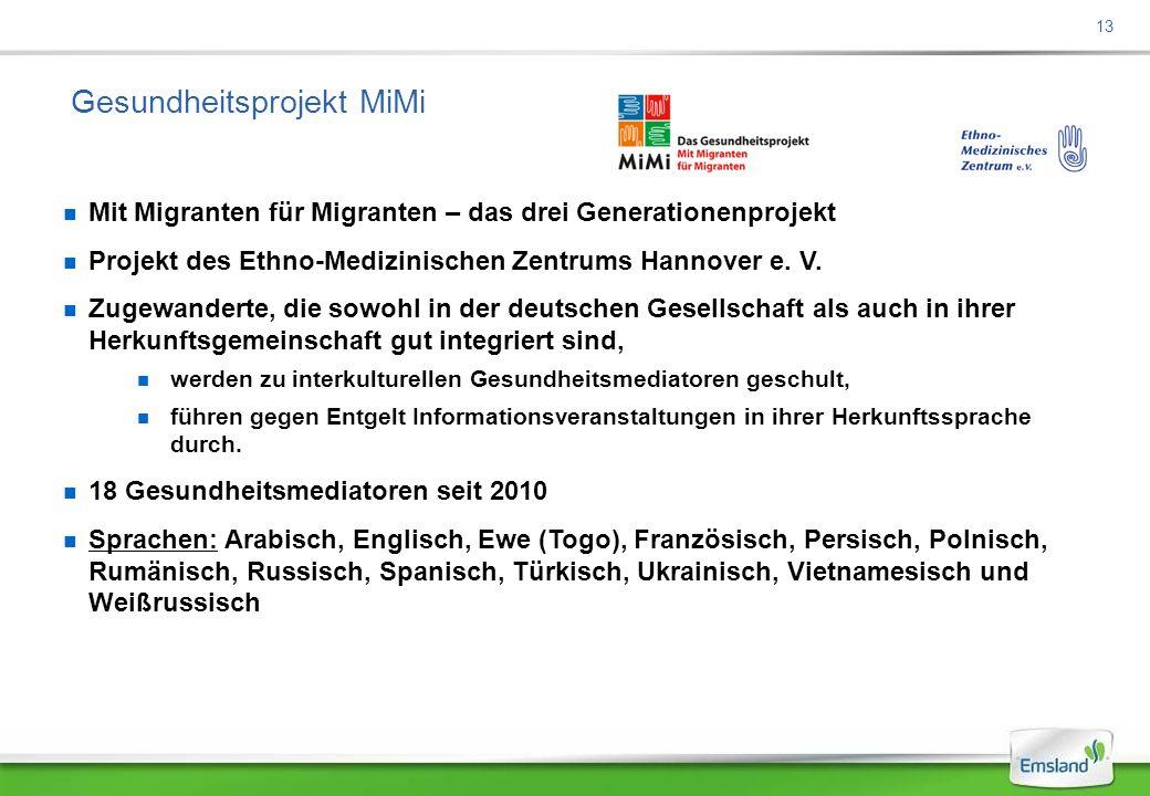 13 Gesundheitsprojekt MiMi Mit Migranten für Migranten – das drei Generationenprojekt Projekt des Ethno-Medizinischen Zentrums Hannover e.