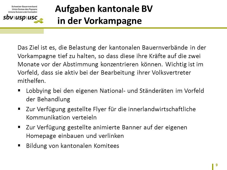 Das Ziel ist es, die Belastung der kantonalen Bauernverbände in der Vorkampagne tief zu halten, so dass diese ihre Kräfte auf die zwei Monate vor der Abstimmung konzentrieren können.
