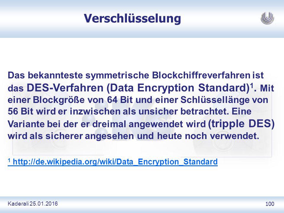 Kaderali 25.01.2016 100 Verschlüsselung Das bekannteste symmetrische Blockchiffreverfahren ist das DES-Verfahren (Data Encryption Standard) 1.