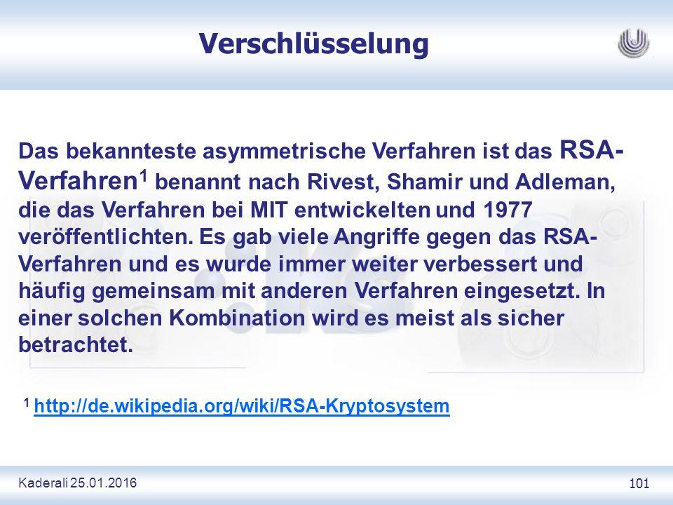 Kaderali 25.01.2016 101 Verschlüsselung Das bekannteste asymmetrische Verfahren ist das RSA- Verfahren 1 benannt nach Rivest, Shamir und Adleman, die das Verfahren bei MIT entwickelten und 1977 veröffentlichten.