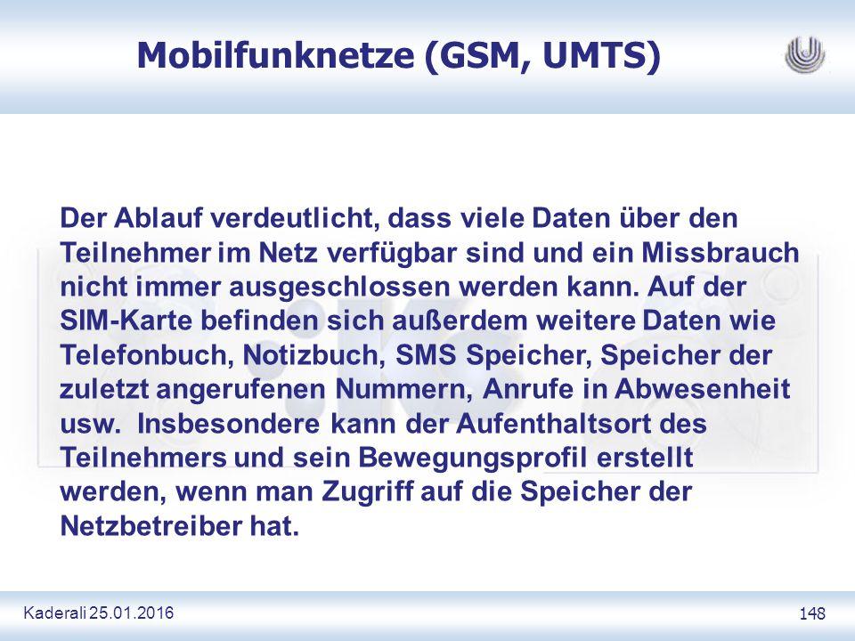 Kaderali 25.01.2016 148 Mobilfunknetze (GSM, UMTS) Der Ablauf verdeutlicht, dass viele Daten über den Teilnehmer im Netz verfügbar sind und ein Missbrauch nicht immer ausgeschlossen werden kann.