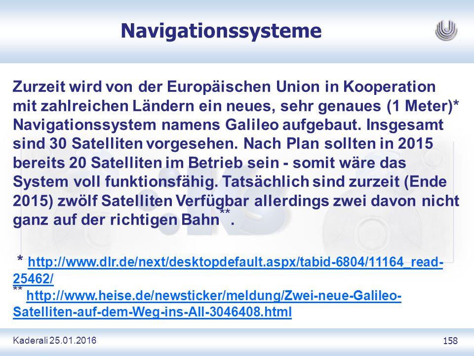 Kaderali 25.01.2016 158 Navigationssysteme Zurzeit wird von der Europäischen Union in Kooperation mit zahlreichen Ländern ein neues, sehr genaues (1 Meter)* Navigationssystem namens Galileo aufgebaut.