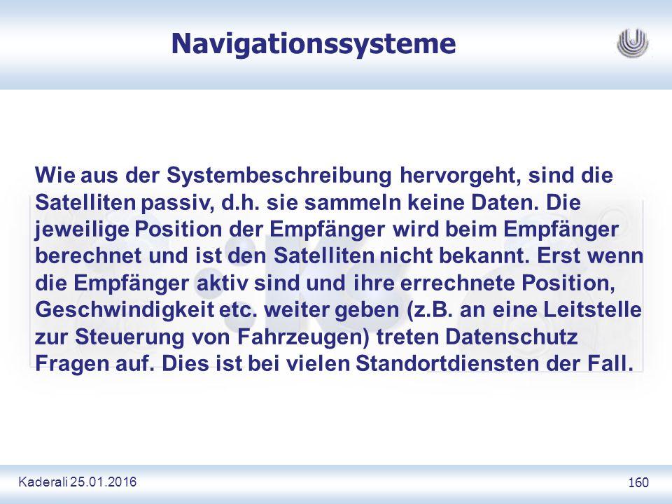 Kaderali 25.01.2016 160 Navigationssysteme Wie aus der Systembeschreibung hervorgeht, sind die Satelliten passiv, d.h.