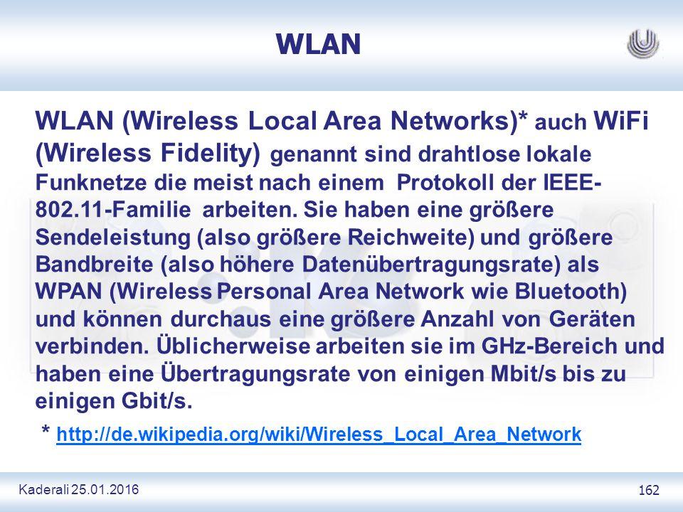 Kaderali 25.01.2016 162 WLAN WLAN (Wireless Local Area Networks)* auch WiFi (Wireless Fidelity) genannt sind drahtlose lokale Funknetze die meist nach einem Protokoll der IEEE- 802.11-Familie arbeiten.