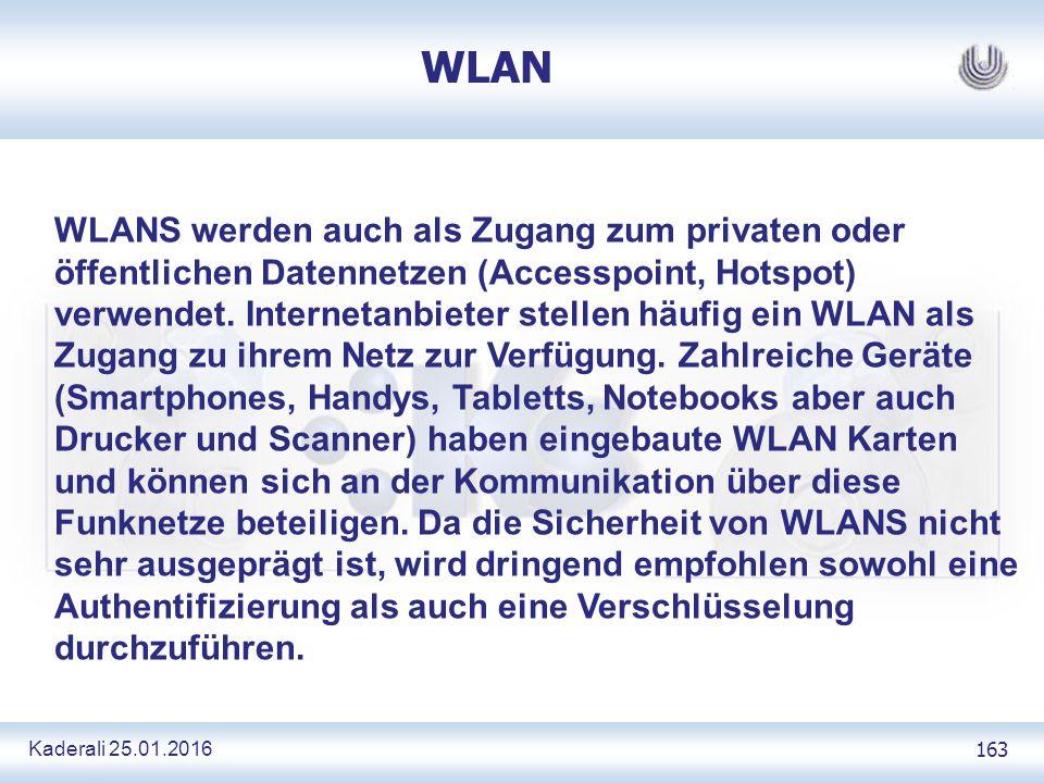 Kaderali 25.01.2016 163 WLAN WLANS werden auch als Zugang zum privaten oder öffentlichen Datennetzen (Accesspoint, Hotspot) verwendet.