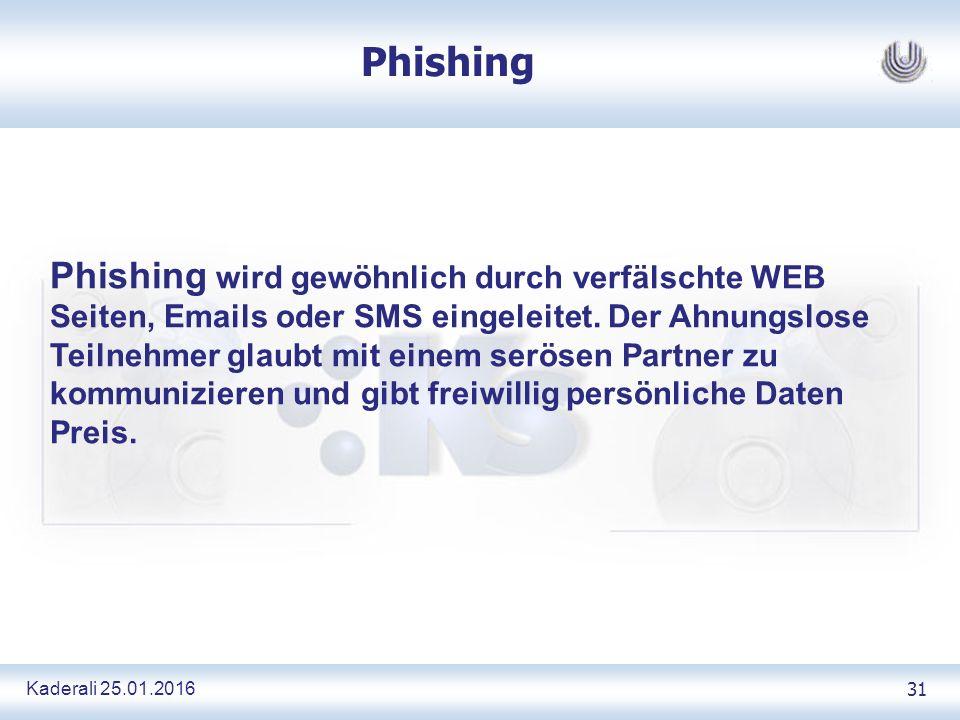 Kaderali 25.01.2016 31 Phishing Phishing wird gewöhnlich durch verfälschte WEB Seiten, Emails oder SMS eingeleitet.