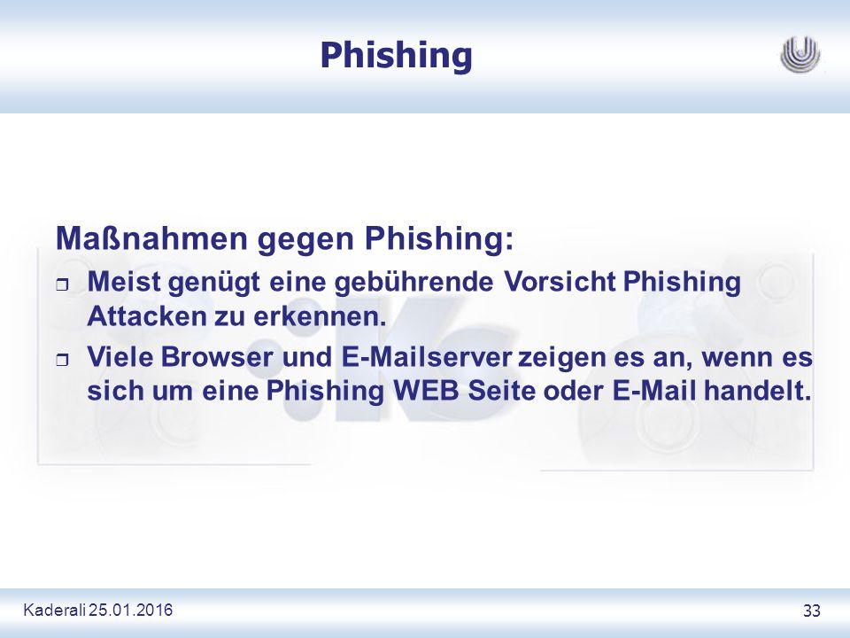 Kaderali 25.01.2016 33 Phishing Maßnahmen gegen Phishing: r Meist genügt eine gebührende Vorsicht Phishing Attacken zu erkennen.