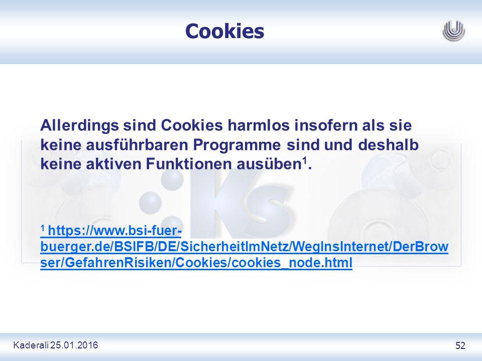 Kaderali 25.01.2016 52 Cookies Allerdings sind Cookies harmlos insofern als sie keine ausführbaren Programme sind und deshalb keine aktiven Funktionen ausüben 1.