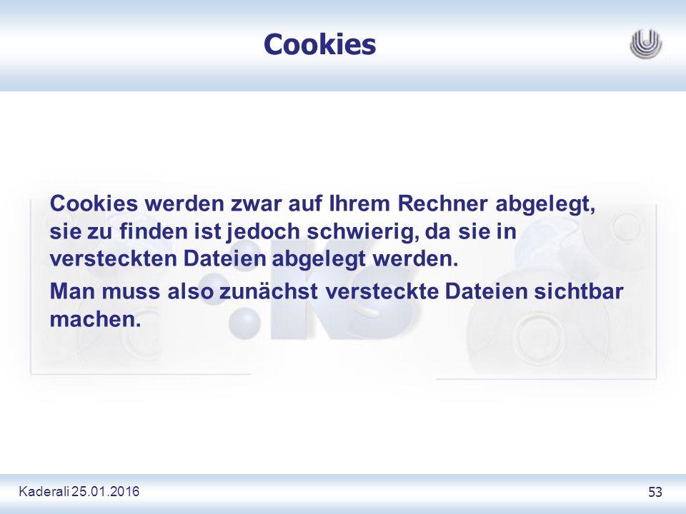 Kaderali 25.01.2016 53 Cookies Cookies werden zwar auf Ihrem Rechner abgelegt, sie zu finden ist jedoch schwierig, da sie in versteckten Dateien abgelegt werden.