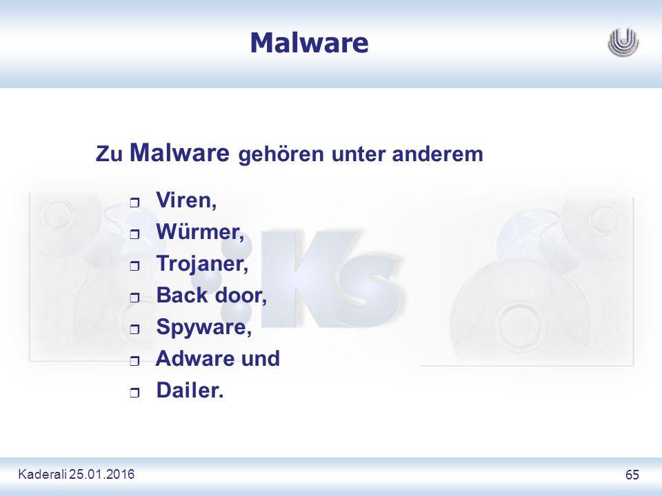 Kaderali 25.01.2016 65 Malware Zu Malware gehören unter anderem r Viren, r Würmer, r Trojaner, r Back door, r Spyware, r Adware und r Dailer.
