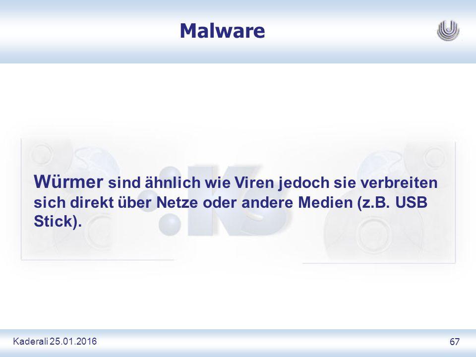 Kaderali 25.01.2016 67 Malware Würmer sind ähnlich wie Viren jedoch sie verbreiten sich direkt über Netze oder andere Medien (z.B.