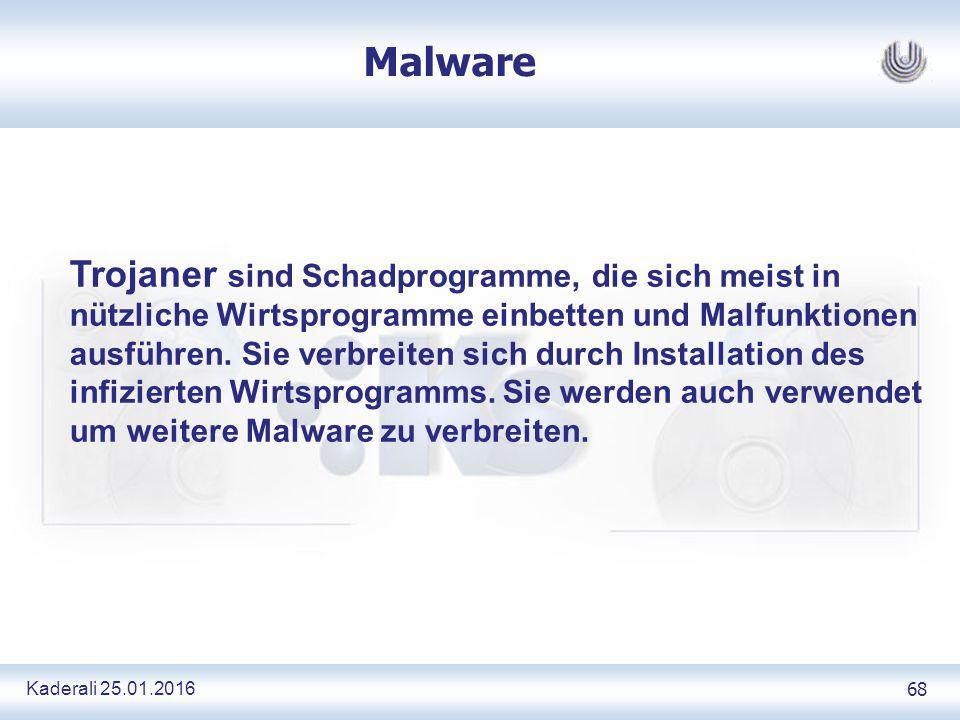 Kaderali 25.01.2016 68 Malware Trojaner sind Schadprogramme, die sich meist in nützliche Wirtsprogramme einbetten und Malfunktionen ausführen.