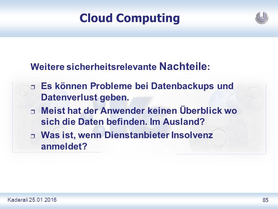 Kaderali 25.01.2016 85 Cloud Computing Weitere sicherheitsrelevante Nachteile : r Es können Probleme bei Datenbackups und Datenverlust geben.