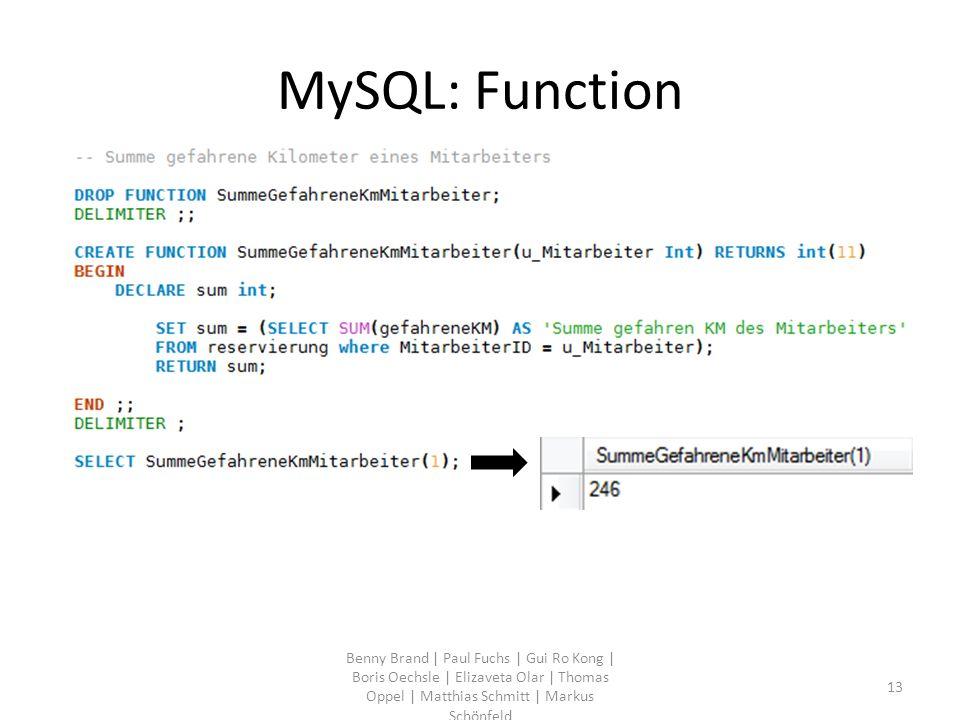 MySQL: Function Benny Brand | Paul Fuchs | Gui Ro Kong | Boris Oechsle | Elizaveta Olar | Thomas Oppel | Matthias Schmitt | Markus Schönfeld 13